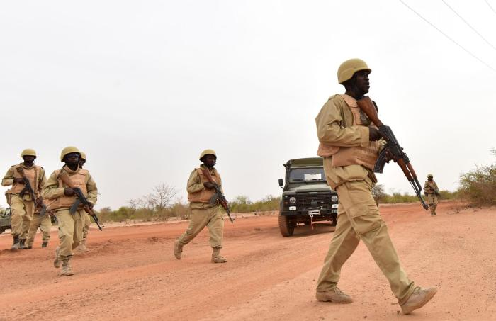 Soldiers from Burkina Faso take part in a training exercise in Burkina Faso on April 13, 2018.