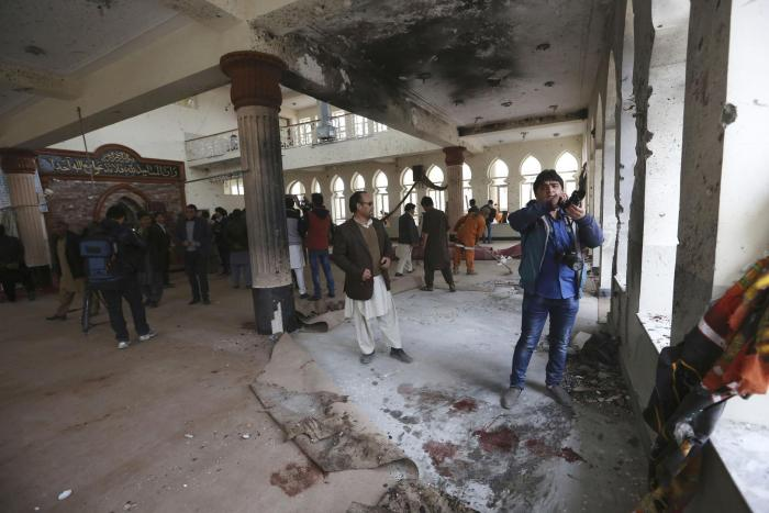 The Baqir-ul Ulum Mosque in Kabul after a suicide attack, November 21, 2016.