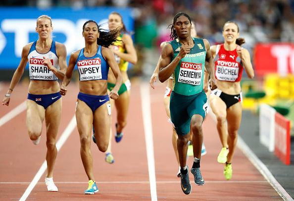 Caster Semenya of South Africa, Charlene Lipsey of the united States and Lynsey Sharp of Great Britain compete in the Women's 800 metres semi finals during day eight of the 16th IAAF World Athletics Championships London 2017
