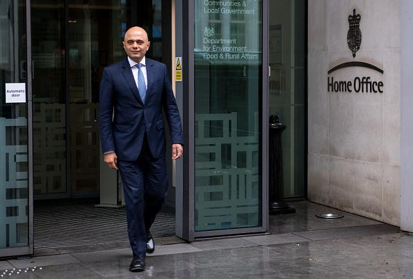 Home Secretary Sajid Javid walks out of the Home Office on April 30, 2018 in London, England.