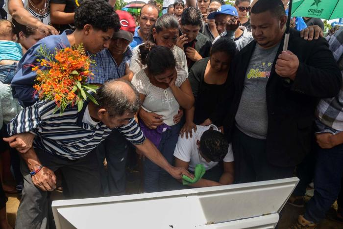 Burial of Teyler Lorío, 14 months old baby; his parents allege police shot him in the head when his father was holding him in his arms, walking on the street in Managua, Nicaragua.