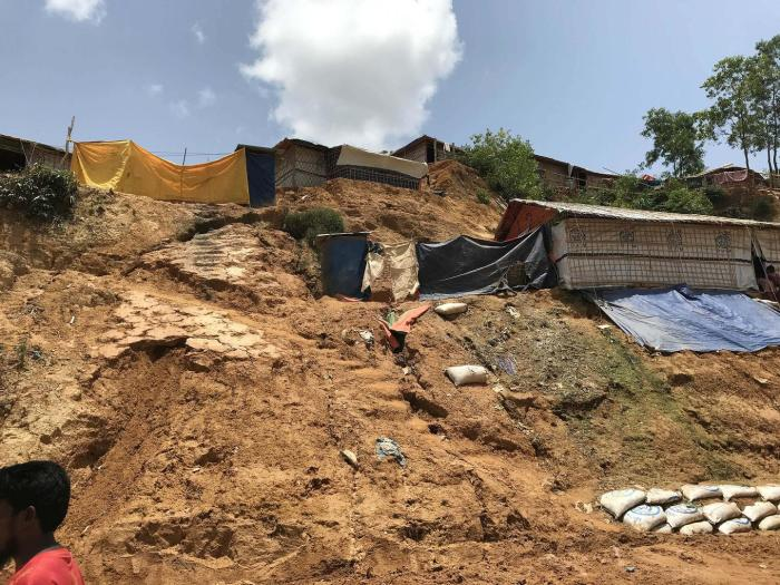 Trees on steep hillsides were cut down to make way for temporary huts when the Kutupalong-Balukhali Expansion Camp was hurriedly built in late 2017 in Cox's Bazar, Bangladesh.