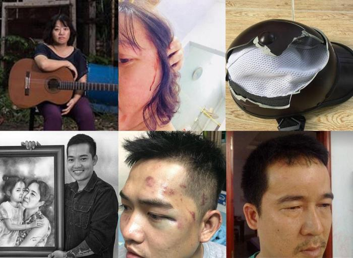"Row 1: Pham Doan Trang before and after the attack, and the broken helmet that was thrown by the side of the road after the beating  Row 2: Nguyen Tin in a fund-raising event for political prisoner Nguyen Ngoc Nhu Quynh (""Mother Mushroom"") and after the a"