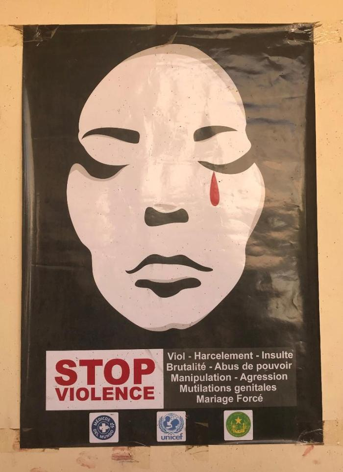 Awareness-raising poster in French on gender-based violence sponsored by the UN Children's Fund, Doctors of the World and the Mauritanian government, displayed at a support center for women and girl survivors of gender-based violence.
