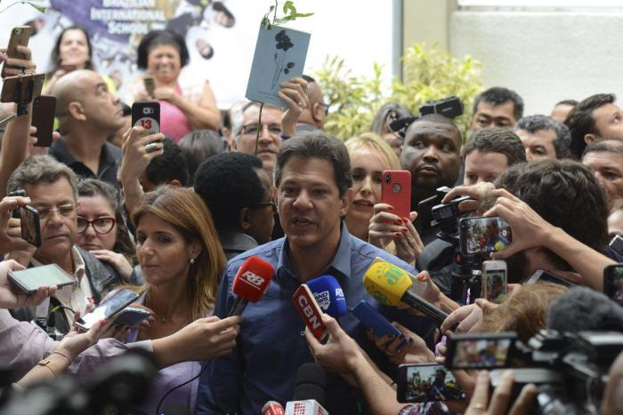 The Brazilian presidential candidate for the Workers' Party, Fernando Haddad, votes at the Brazilian International School in São Paulo, Brazil.