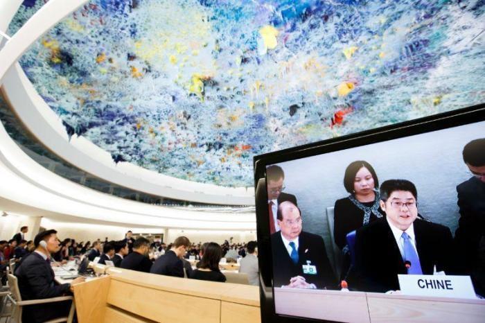 中国外交部副部长乐玉成在人权理事会对中国进行普遍定期审议(UPR)的会议上发言,瑞士日内瓦,联合国欧洲总部,2018年11月6日。