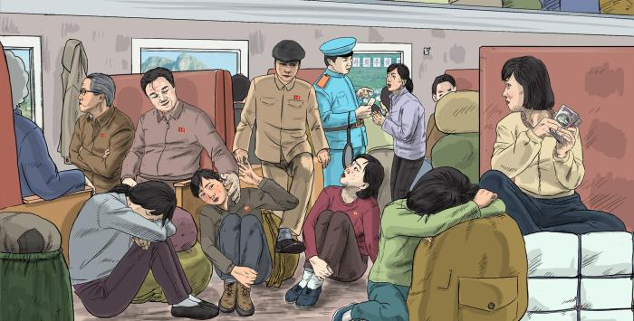 Male government officials and female traders sitting in a railway carriage, while a railroad officer checks a female trader's ticket. In railway carriages, women often face harassment by male government officials and railroad officers.