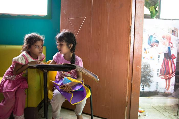 Two students at a free non-government school for poor children in the Lyari neighborhood of Karachi, Pakistan.