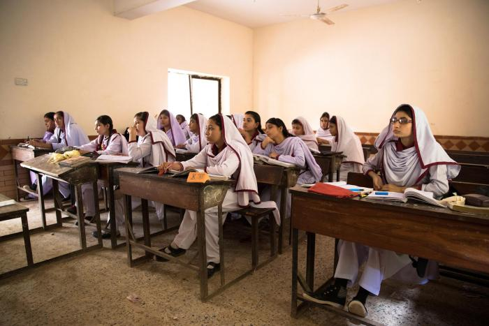 Students at Behar colony government Secondary School for girls in the lyari neighborhood of Karachi, Pakistan.