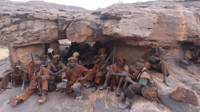 Members of the Dogon militia, Dan Na Ambassagou, which was founded to defend the Dogon community from attacks by Islamist armed groups. Dan Na Ambassagou has been implicated in numerous serious abuses against Peuhl civilians.