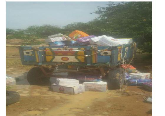 A cart that was destroyed in an attack by alleged armed Islamists on Dogon traders returning from the market in Djoulouna, Douentza cercle, central Mali on September 21, 2018.