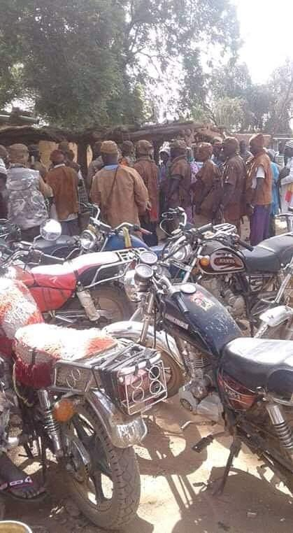 Dan Na Ambassagou militia gather for a meeting reportedly held in Koro cercle, Mopti region, central Mali, in November 2018. The Malian government imposed a ban on motorcycles in Mopti region for security reasons, although they have not always applied the