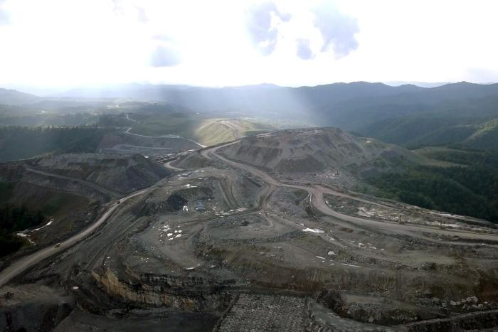 Mountaintop removal mine on Coal Mountain in Wyoming County, West Virginia