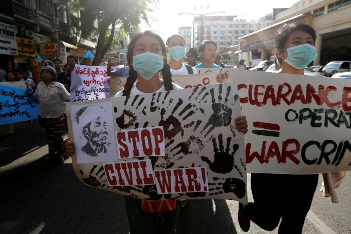 Students take part in an anti-war rally in Yangon,  Myanmar, calling for an end to the conflict in Kachin State.   May 6, 2018.