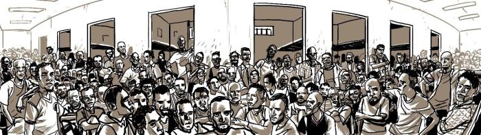 Artist rendition of overcrowded men's section at Zuwara detention center, Zuwara.