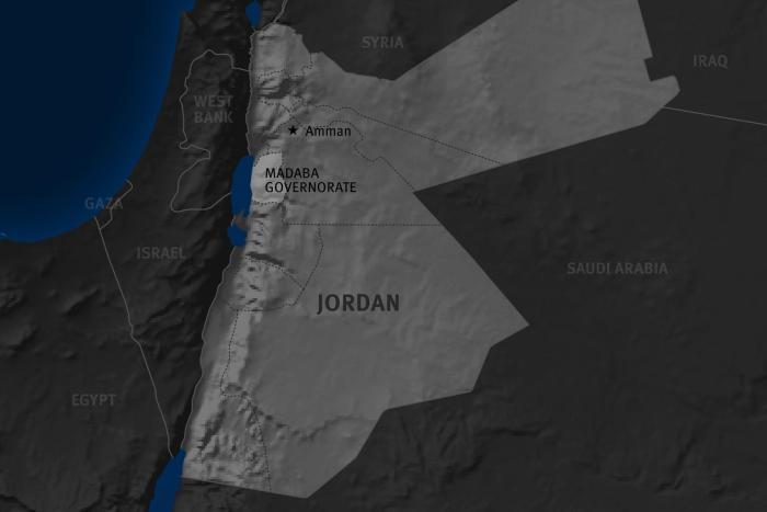 Madaba governorate on Jordan's map