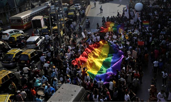 Supporters of the lesbian, gay, bisexual and transgender community participate in a Gay Pride parade in Mumbai, India, Saturday, Feb. 2, 2019.