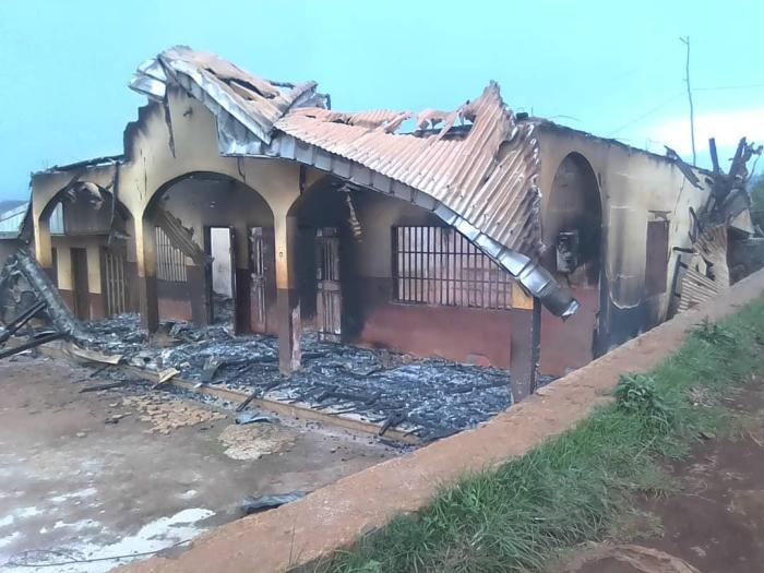 This house in Kikaikelaki village, North-West region, Cameroon, was burned by soldiers on April 30, 2019.
