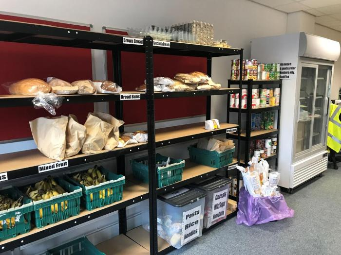 Low-cost redistributed or near-expiry food available to scheme members at EMS Yorkshire's community shop in Hull, May 2018.