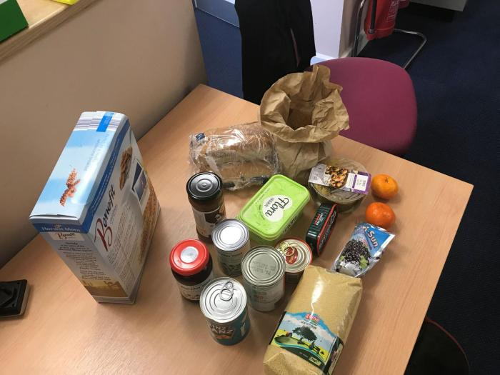 Members of the Goodwin Community Pantry can choose a limited number of low-cost items, every week for a fixed total price of £3 or £5. These are the contents of individual shopping baskets chosen by pantry users, May 2018.