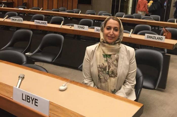 Seham Sergewa, Libyan politician and member of the House of Representatives abducted in Benghazi on July 17, 2019, attends a session at the Human Rights Council, Geneva, Switzerland, 2015. © Private
