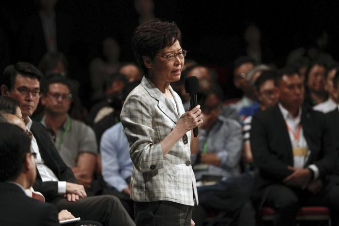 Hong Kong Chief Executive Carrie Lam at community dialogue in Hong Kong