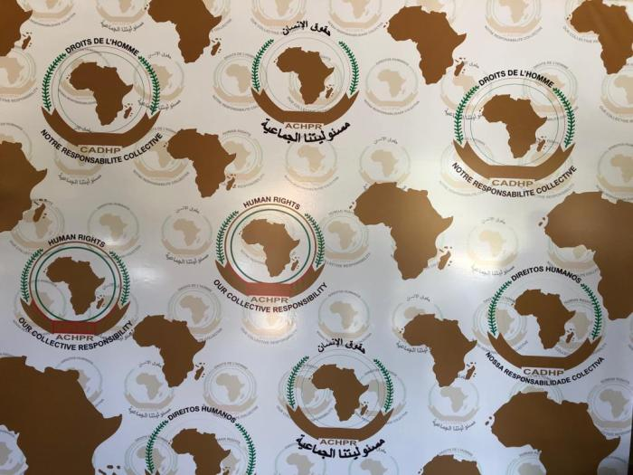 A banner at the opening of the 65th Ordinary Session of the African Commission on Human and Peoples' Rights (ACHPR) in Banjul, Gambia, which reads 'our collective responsibility' in the four working languages of the ACHPR.