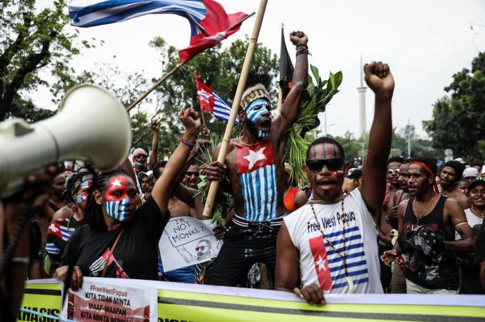 Papuan students shout slogans during a rally in Jakarta, Indonesia on August 28, 2019. Students and activists gathered for a protest supporting West Papua, calling for independence from Indonesia, and demanding racial justice in Surabaya, East Java.