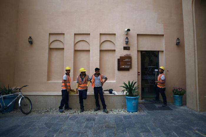 Workers in Katara cultural heritage village in Doha, Qatar.