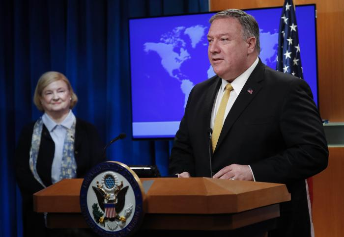 "US Secretary of State Mike Pompeo, right, unveils the creation of Commission on ""Unalienable"" Rights, headed by Mary Ann Glendon, left, a Harvard Law School professor and a former U.S. Ambassador to the Holy See, during an announcement at the US State Dep"