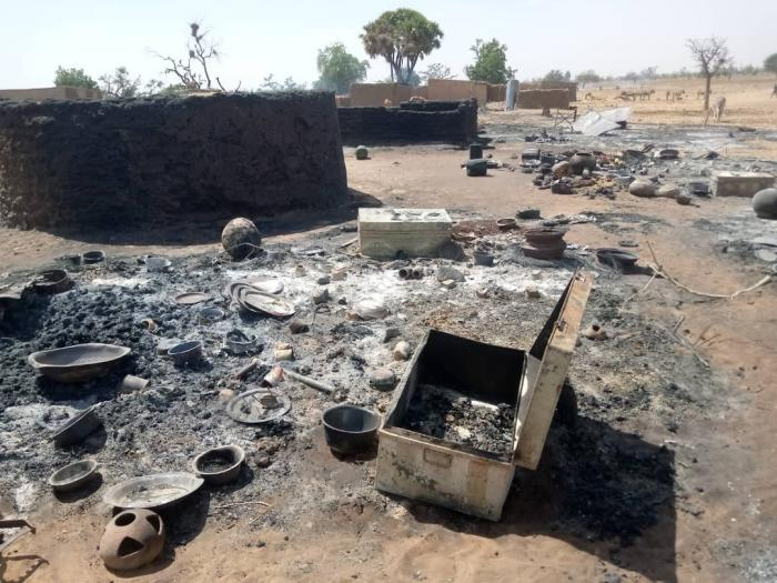 Part of the destroyed village of Ogossagou, attacked by armed Dogon men on February 14, 2020. The attack left over 35 Peuhl civilians dead.  © 2020 Private.