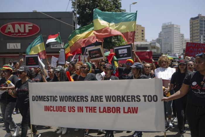 Migrant workers protest in Beirut, Lebanon.