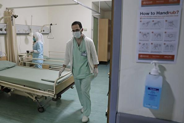 Lebanese nurses at a ward where the first case of coronavirus in the country was being treated, at the Rafik Hariri University Hospital in the southern outskirts of Beirut, on February 22, 2020.