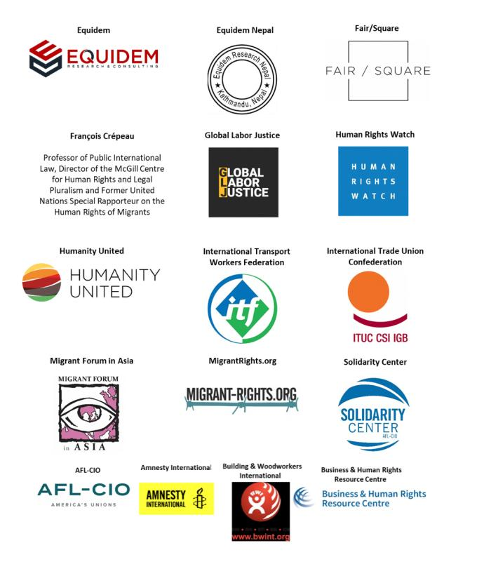 Logos of civil society organizations and trade unions.