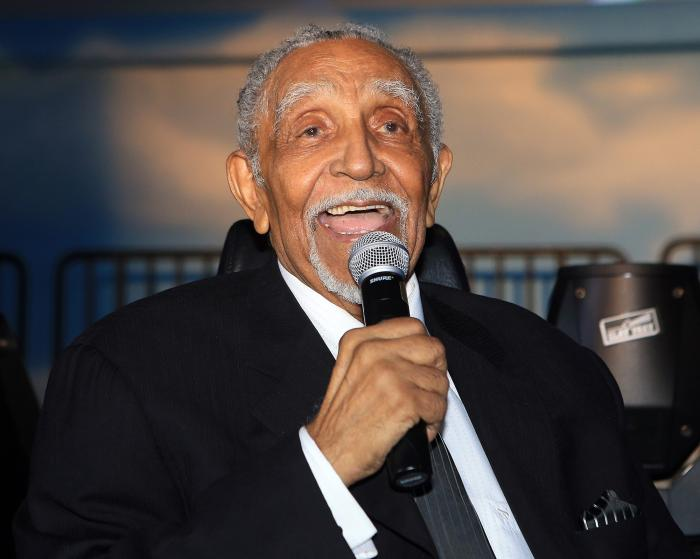 The Rev. Dr. Joseph E. Lowery laughs with the audience while speaking at the end of his 94th birthday celebration