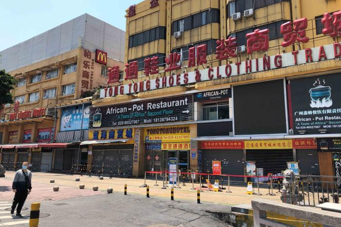An African restaurant is closed off along with other businesses in Guangzhou's Sanyuanli area, where a neighborhood is in lockdown after several people tested positive for the novel coronavirus disease, in Guangzhou, Guangdong province, China, April 13, 2