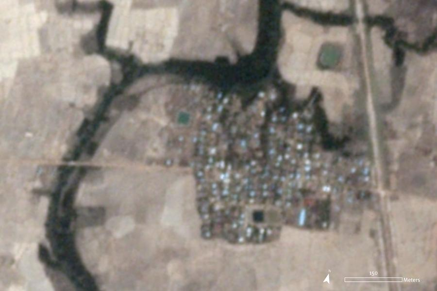 Satellite imagery recorded on May 16, 2020, at 4:01 a.m. UTC (10:31 a.m. local time) does not show signs of damage in Let Kar village at that specific time.
