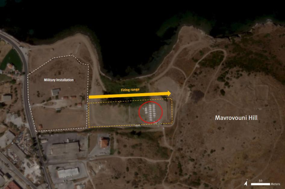 Mavrovouni camp with at least 200 tents located on the former firing range strip.