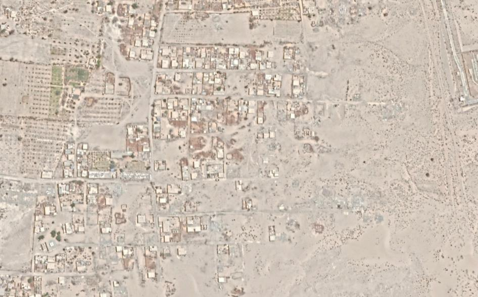 Before and after satellite imagery illustrates demolition in al-Arish city. Before: June 1, 2018. After: April 7, 2019.