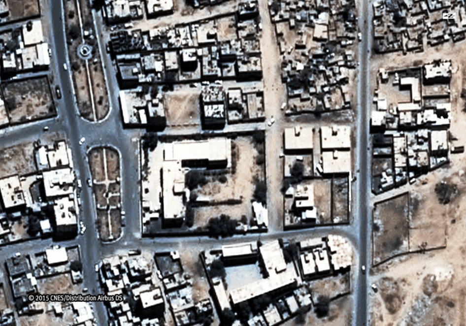 Images of the Saada Cultural Center and the al-Ibbi house before at least five aerial bombs hit both compounds on May 6, 2015, killing 27 members of the al-Ibbi family, including 17 children. Taken March 29, 2015.