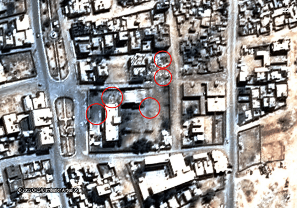 Images of the Saada Cultural Center and the al-Ibbi house after at least five aerial bombs hit both compounds on May 6, 2015, killing 27 members of the al-Ibbi family, including 17 children. Taken May 19, 2015.