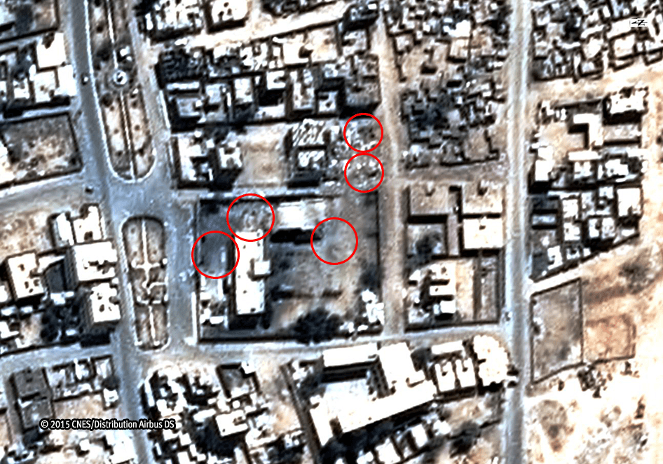 Aerial bombardment by the Saudi-led coalition killed 27 members of the al-Ibbi family on May 6, 2015. Each red circle indicates an individual impact site.