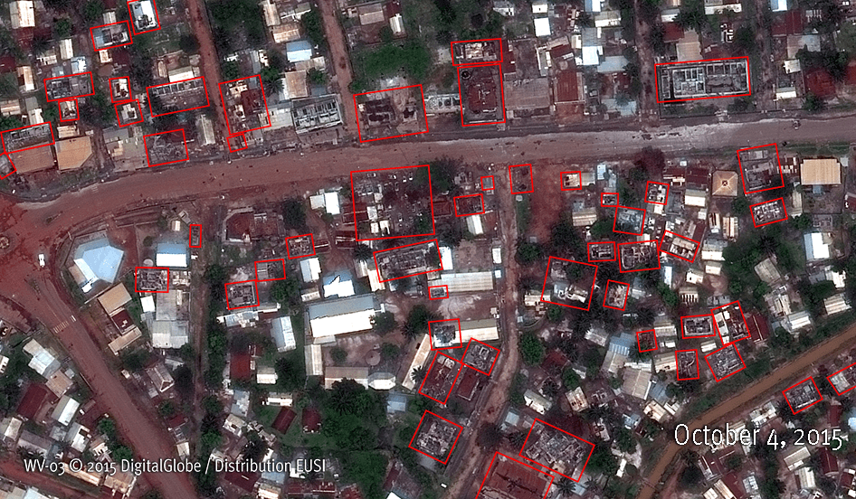 Satellite Images illustrating building destruction in the Bazanga and Sara neighbourhoods of Bangui between September 22 and October 4, 2015