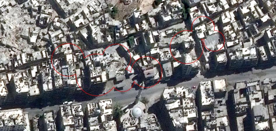 Satellite imagery showing the neighborhood of al-Kallaseh in Aleppo, Syria, before airstrikes that took place on September 23, 2016.