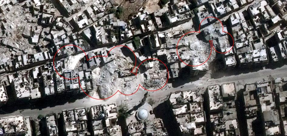 Satellite imagery showing the neighborhood of al-Kallaseh in Aleppo, Syria, after airstrikes that took place on September 23, 2016.