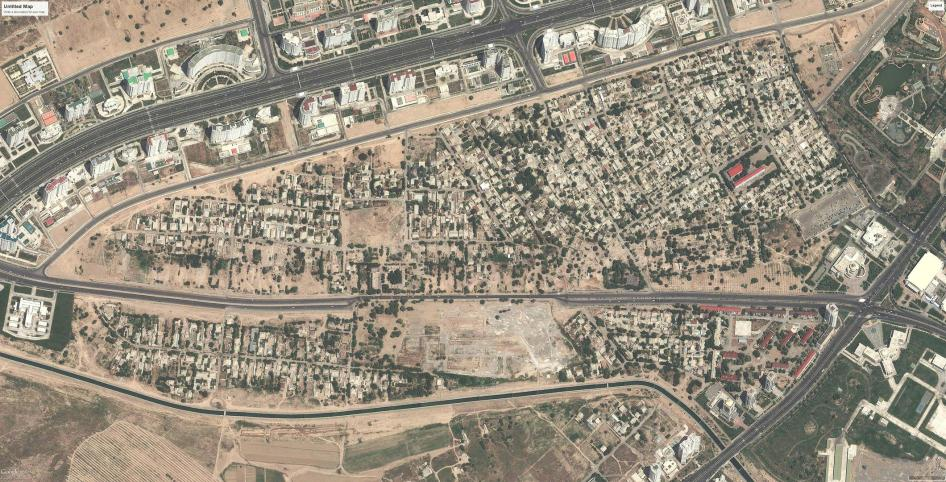 Satellite imagery showing before large scale demolitions occurred in Turkmenistan