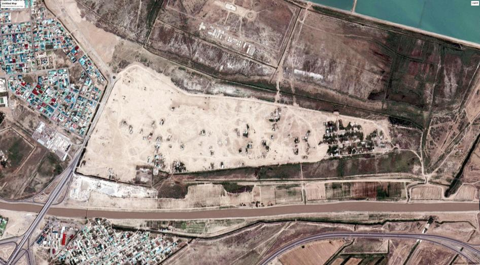 Satellite imagery showing after large scale demolitions occurred in Turkmenistan