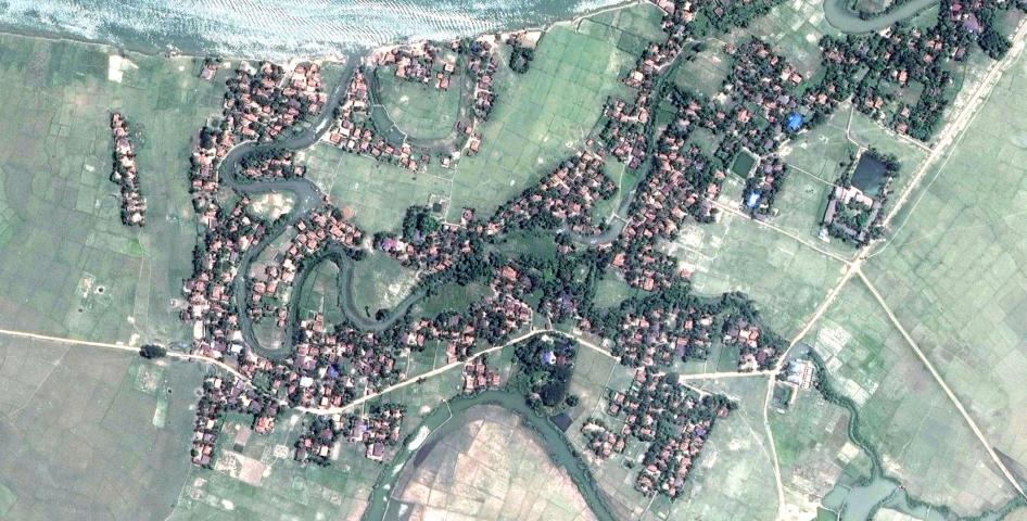 Satellite imagery recorded before the destruction of Myar Zin village.
