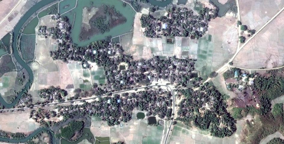 Satellite imagery recorded before the destruction of Nwar Yon Taung village.