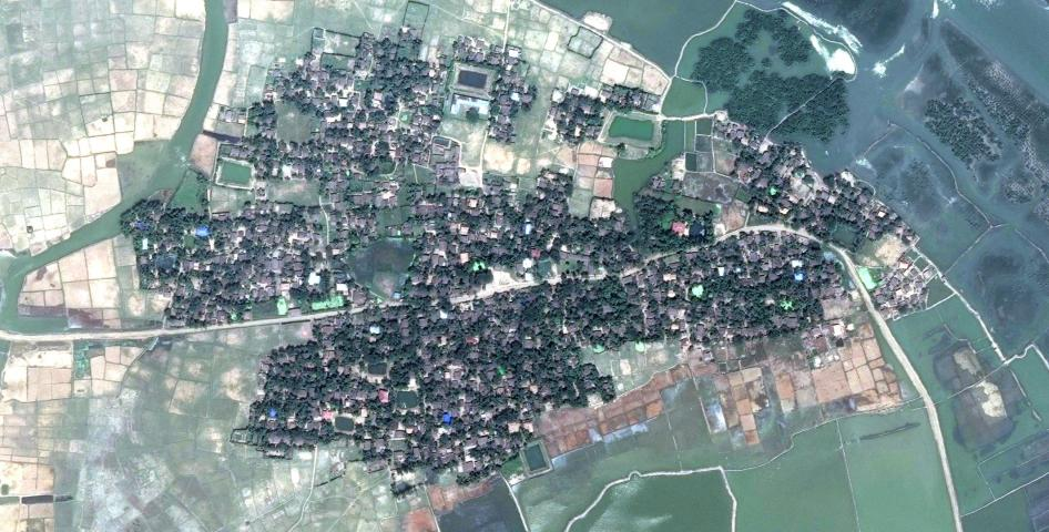 Satellite imagery recorded before the destruction of Yae Twin Kyun village.